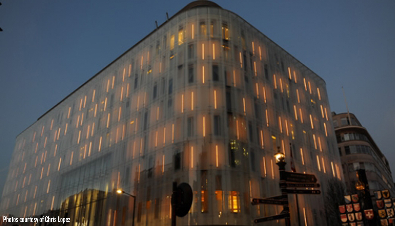 Computerized w hotel facade in london creates unique for Building exterior lighting design