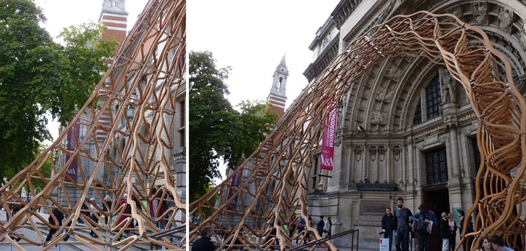 VAoak3 Architects Create Stunning American Oak Entrance Lattice Installation Work For V&A Museum Entrance