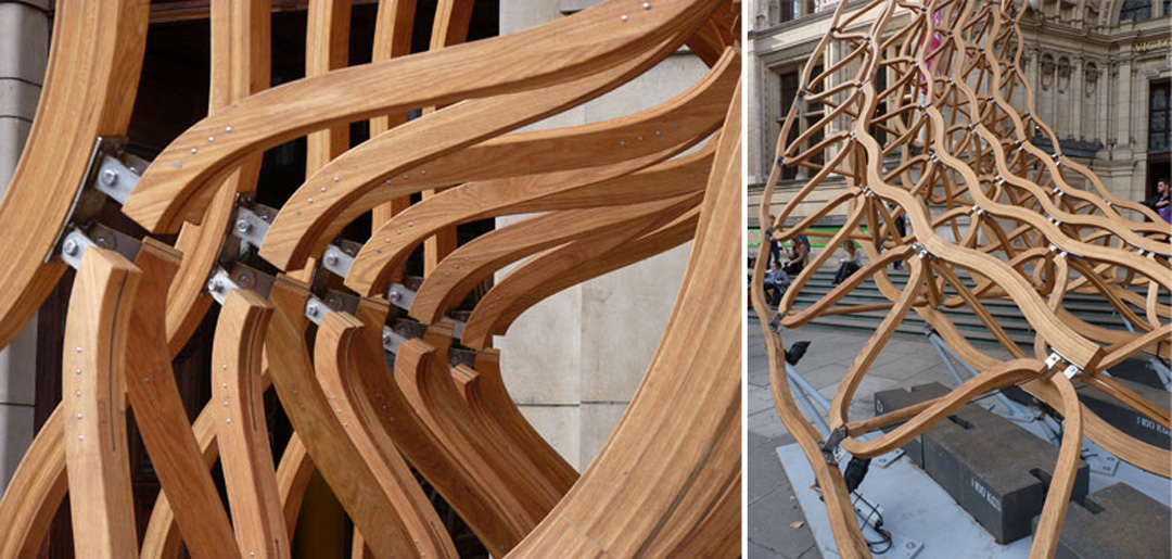 VAoak4 Architects Create Stunning American Oak Entrance Lattice Installation Work For V&A Museum Entrance