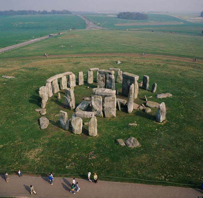 Stonehenge World Heritage site Salisbury Plain Wiltshire UK aerial view