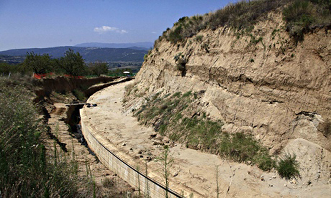 the site where archaeologists are excavating an ancient mound in Amphipolis, northern Greece