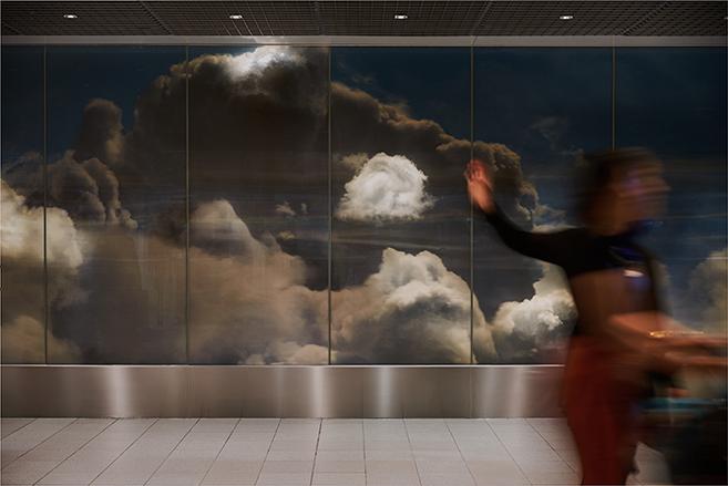 Daan Roosegaarde's BEYOND 3D Cloud Installation in Amsterdam Airport