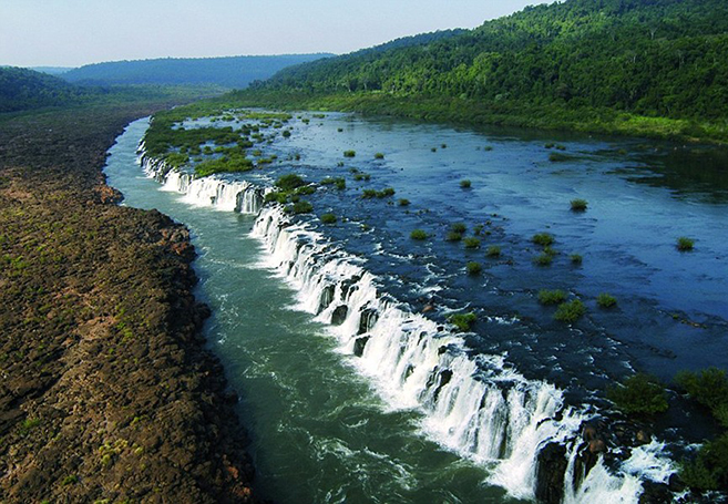 The Mocona Falls Sideways River in Argentina