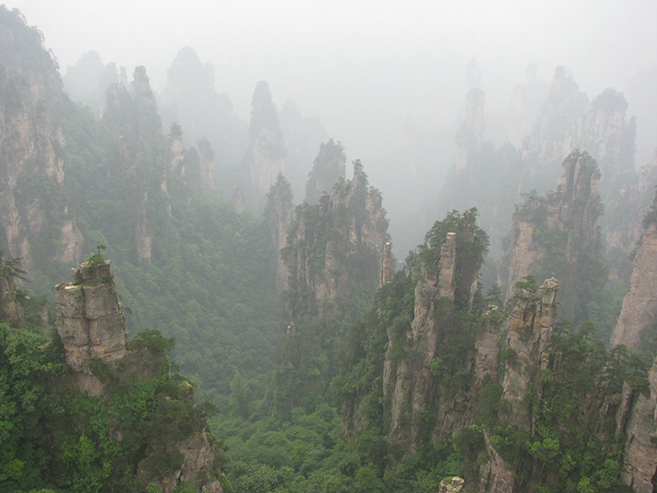 The Avatar Mountains in China's Zhangjiajie National Forest Park