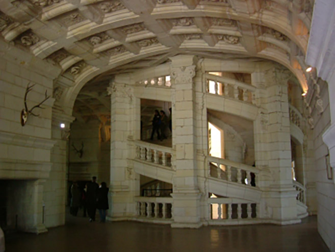 "Leonardo da Vinci's double helix ""DNA Staircase"" inside the Château de Chambord"