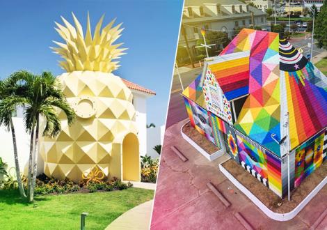 Nickelodeon's Pineapple Villa in Punta Cana and Okuda San Miguel's Universal Chapel