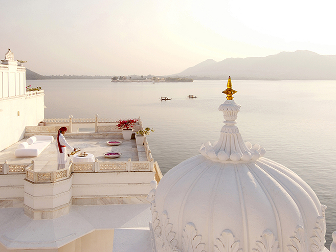 The Taj Lake Palace on Lake Pichola looking out over Udaipur, India