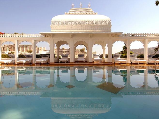 The Taj Lake Palace on Lake Pichola looking out over Udaipur, India
