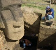 Easter Island's Moai heads being excavated by archaeologists