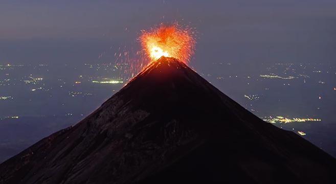 Incredible Lavafountaining Footage of Guatemala's Fuego Volcano